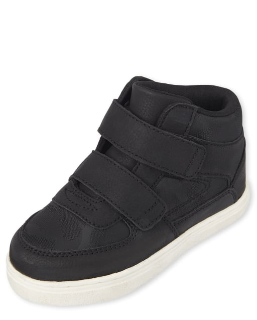 Toddler Boys Double Strap Faux Leather Hi Top Sneakers
