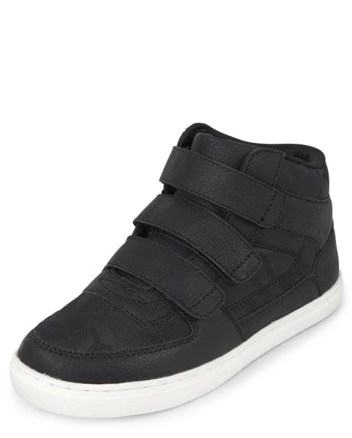Boys Triple Strap Faux Leather Hi Top Sneakers