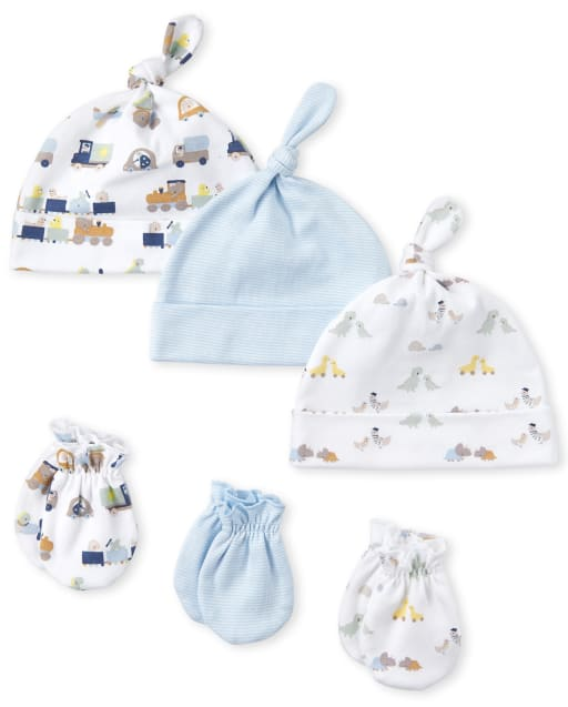 Baby Boys Transportation Knotted Hat And Mittens 6-Piece Set