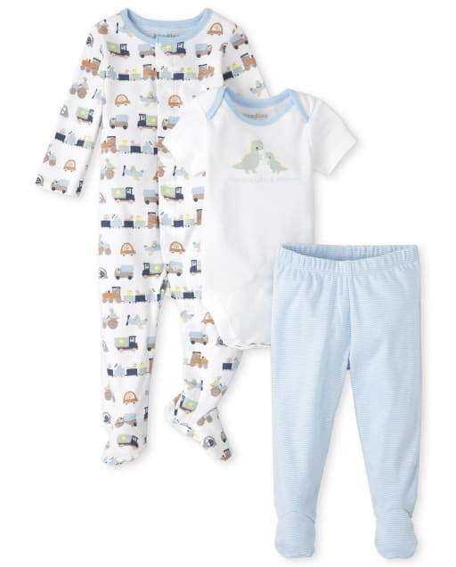 Baby Boys Short Sleeve Dino Bodysuit Long Sleeve Transportation Print Sleep And Play And Striped Knit Pants 3-Piece Take Me Home Set