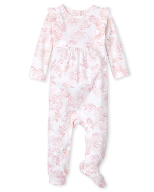 Baby Girls Long Sleeve Rose Print Coverall