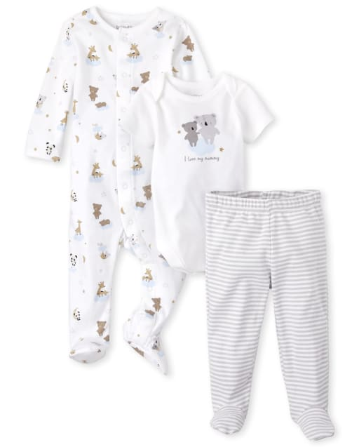 Unisex Baby Short Sleeve Bear Bodysuit Long Sleeve Bear Sleep And Play And Striped Knit Pants 3-Piece Take Me Home Set
