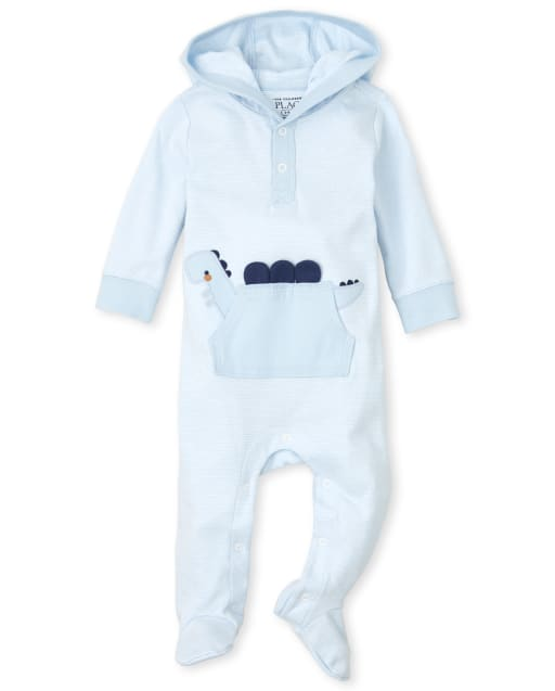 Baby Boys Long Sleeve Striped Dino Coverall
