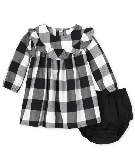 Baby Girls Matching Family Long Sleeve Buffalo Plaid Twill Dress And Bloomers Set