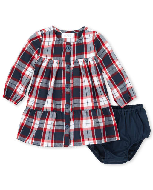 Baby Girls Mommy And Me Long Sleeve Plaid Twill Matching Dress And Bloomers Set