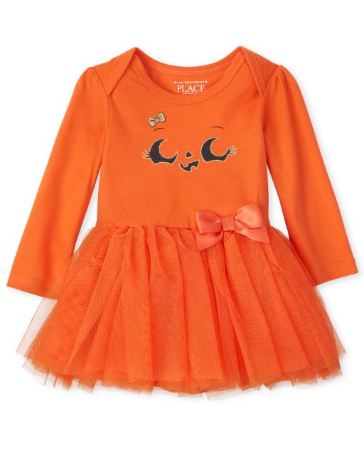 Baby Girls Long Sleeve Halloween Graphic Tutu Knit Bodysuit Dress