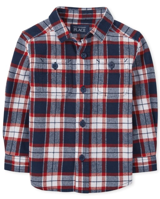 Baby And Toddler Boys Matching Family Long Sleeve Plaid Flannel Button Down Shirt