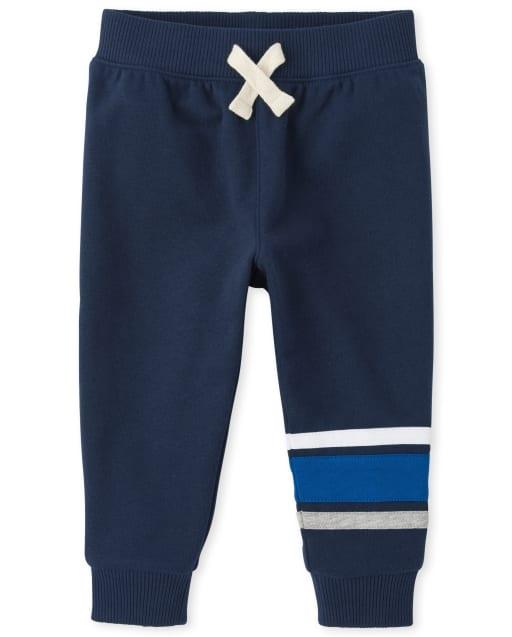 Pantalones deportivos de felpa con rayas activas para bebés y niños pequeños