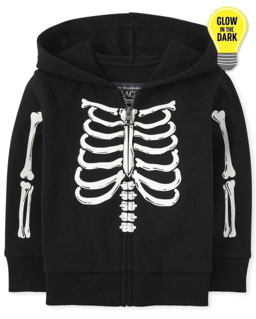 Unisex Baby And Toddler Long Sleeve Halloween Glow In The Dark Skeleton Zip Up Hoodie