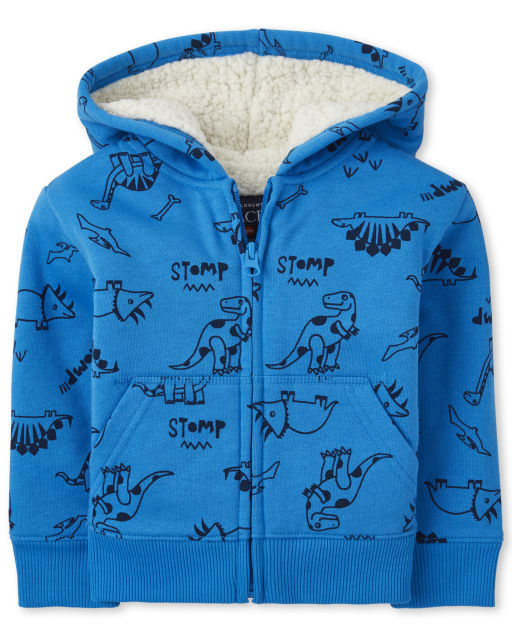 Baby And Toddler Boys Long Sleeve Dino Print Sherpa Zip Up Hoodie