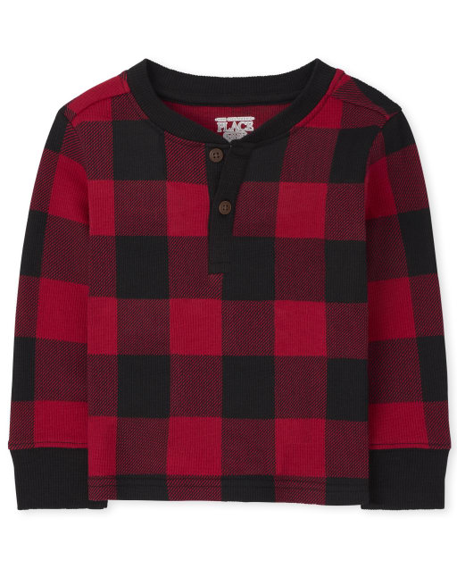 Baby And Toddler Boys Long Sleeve Buffalo Plaid Thermal Henley Top