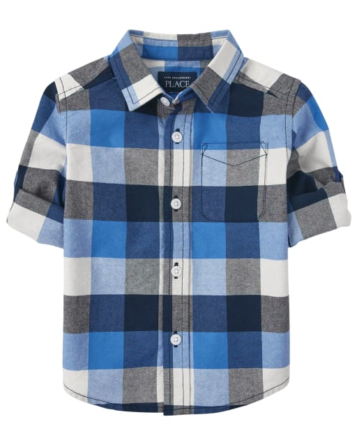 Baby And Toddler Boys Long Roll Up Sleeves Plaid Oxford Button Down Shirt