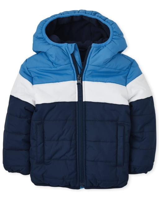 Baby And Toddler Boys Long Sleeve Colorblock Puffer Jacket