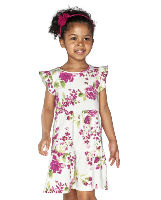 Baby And Toddler Girls Short Ruffle Sleeve Floral Print Knit Tiered Dress