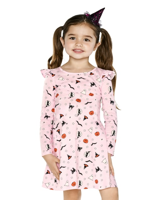 Baby And Toddler Girls Long Sleeve Halloween Print Knit Skater Dress