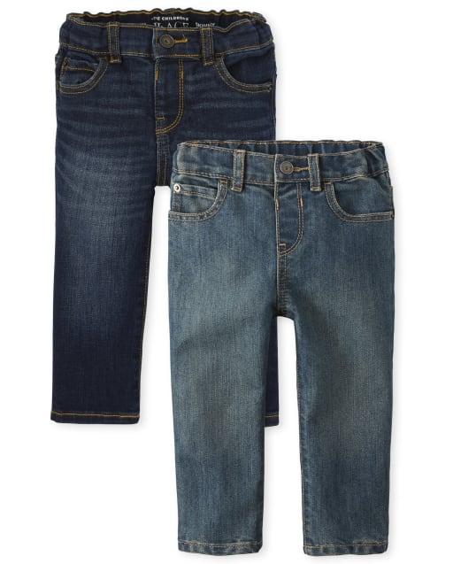 Paquete de 2 jeans ajustados elásticos para bebés y niños pequeños