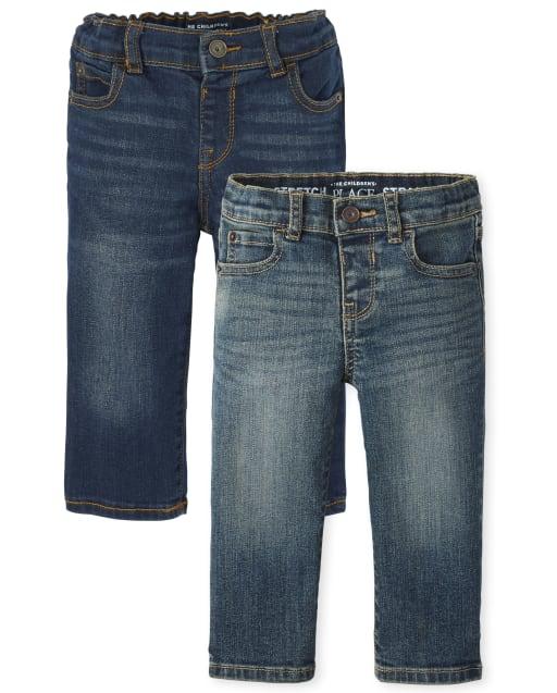 Paquete de 2 jeans rectos elásticos para bebés y niños pequeños