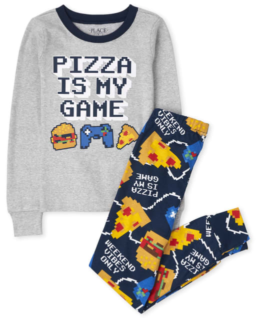 Boys Long Sleeve Pizza Gamer Snug Fit Cotton Pajamas