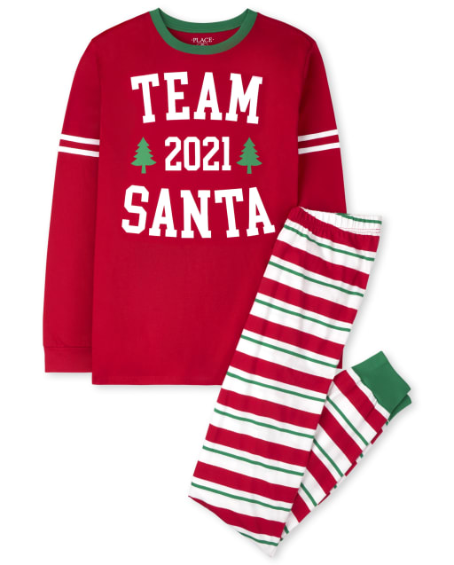 Unisex Adult Matching Family Christmas Long Sleeve 'Team Santa 2021' Cotton Pajamas