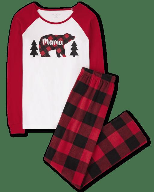 Womens Matching Family Christmas Long Raglan Sleeve Bear Buffalo Plaid Cotton Top And Fleece Pants Pajamas