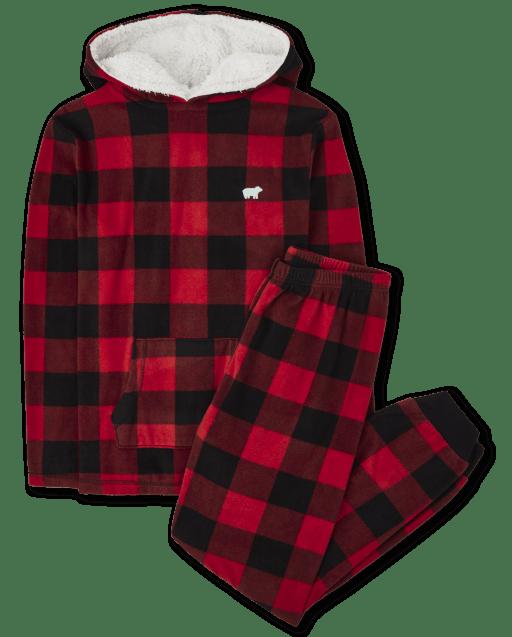 Unisex Adult Matching Family Christmas Long Sleeve Bear Buffalo Plaid Hooded Top And Fleece Pants Pajamas