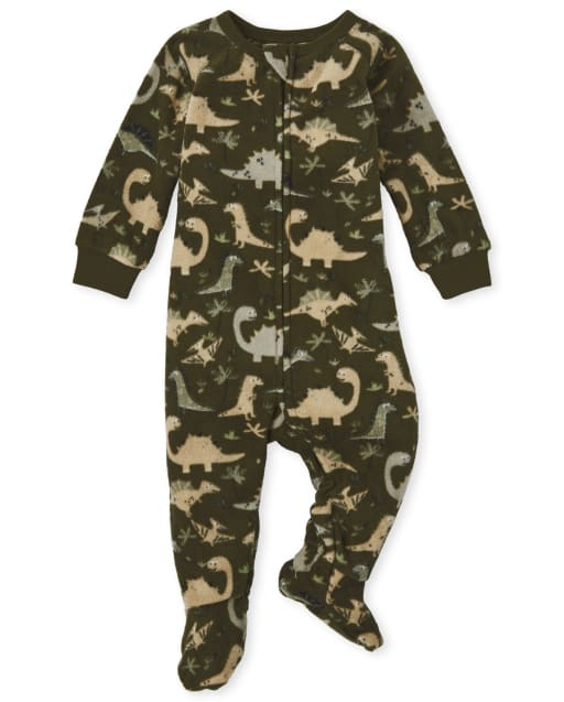 Baby And Toddler Boys Long Sleeve Dino Print Fleece Footed One Piece Pajamas