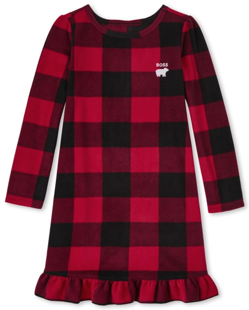 Girls Matching Family Christmas Long Sleeve Bear Buffalo Plaid Fleece Nightgown