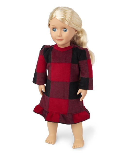 Doll Matching Family Christmas Long Sleeve Bear Buffalo Plaid Fleece Nightgown