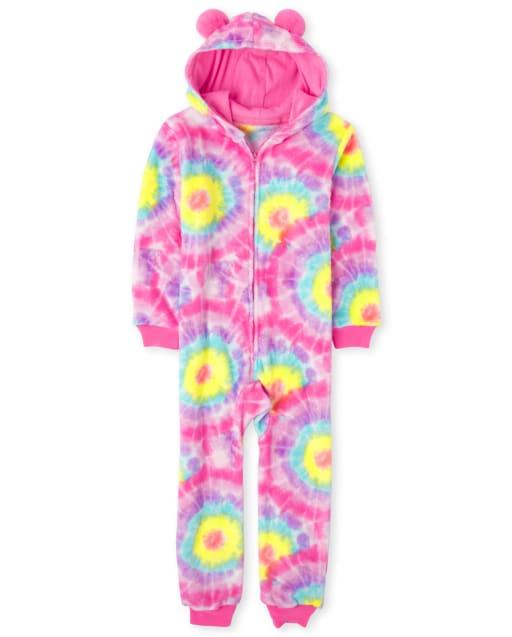 Girls Long Sleeve Tie Dye Print Fleece Hooded One Piece Pajamas