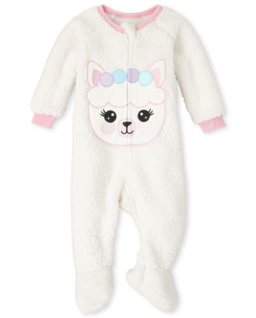 Baby And Toddler Girls Long Sleeve Llama Fairisle Fleece One Piece Pajamas