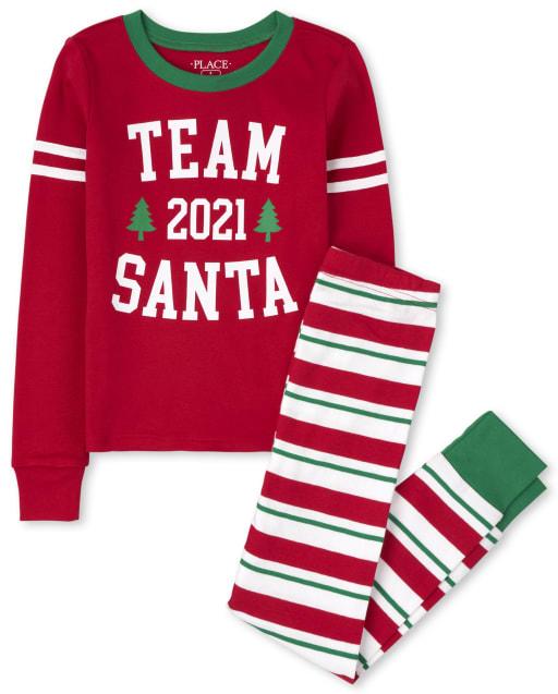 Unisex Kids Matching Family Christmas Long Sleeve 'Team Santa 2021' Snug Fit Cotton Pajamas