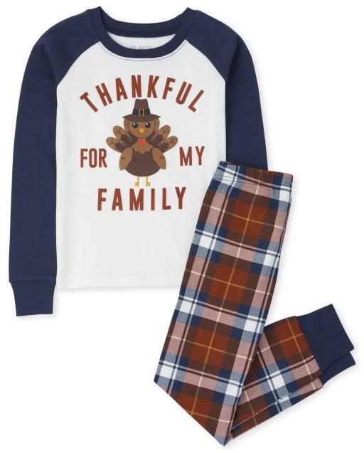 Unisex Kids Matching Family Long Sleeve Thanksgiving Snug Fit Cotton Pajamas