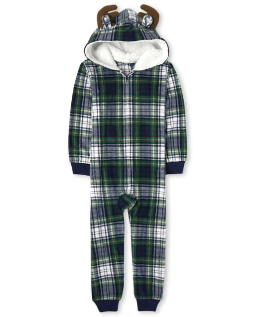 Unisex Kids Matching Family Christmas Long Sleeve Moose Plaid Fleece Hooded One Piece Pajamas
