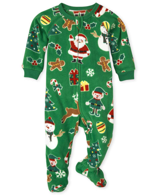 Unisex Baby And Toddler Matching Family Long Sleeve Christmas Crew Print Fleece Footed One Piece Pajamas