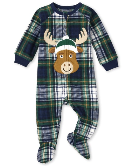 Unisex Baby And Toddler Matching Family Christmas Long Sleeve Moose Plaid Fleece Footed One Piece Pajamas