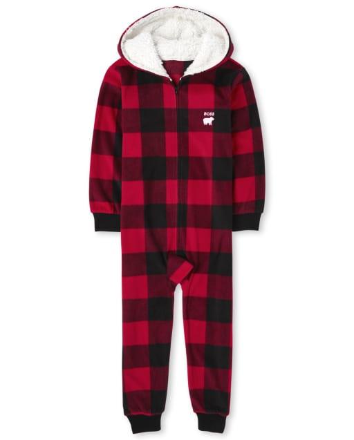Unisex Kids Matching Family Christmas Long Sleeve Bear Buffalo Plaid Fleece Hooded One Piece Pajamas
