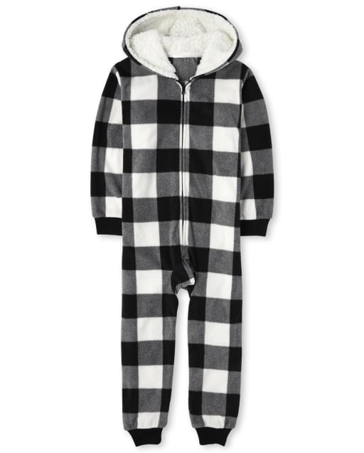 Unisex Kids Matching Family Christmas Long Sleeve Buffalo Plaid Fleece Hooded One Piece Pajamas