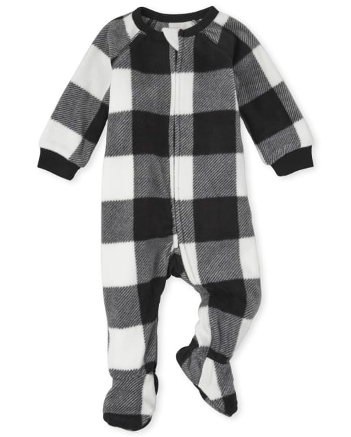 Unisex Baby And Toddler Matching Family Christmas Long Sleeve Buffalo Plaid Fleece Footed One Piece Pajamas