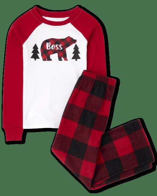 Unisex Kids Matching Family Christmas Long Raglan Sleeve Bear Buffalo Plaid Snug Fit Cotton Top And Fleece Pants Pajamas