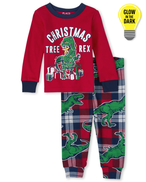 Unisex Baby And Toddler Matching Family Glow Christmas Long Sleeve Christmas Tree-Rex Snug Fit Cotton Pajamas