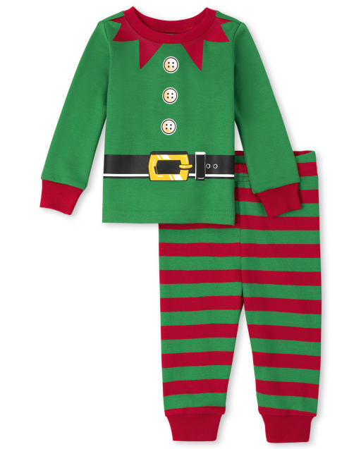 Unisex Baby And Toddler Christmas Long Sleeve Elf Snug Fit Cotton Pajamas