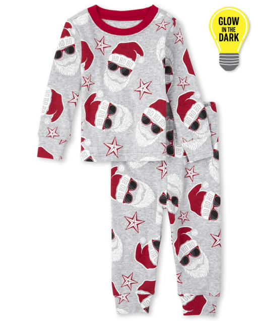 Unisex Baby And Toddler Matching Family Christmas Long Sleeve Glow In The Dark Santa Print Snug Fit Cotton Pajamas