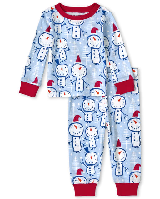 Unisex Baby And Toddler Christmas Long Sleeve Snowman Print Snug Fit Cotton Pajamas