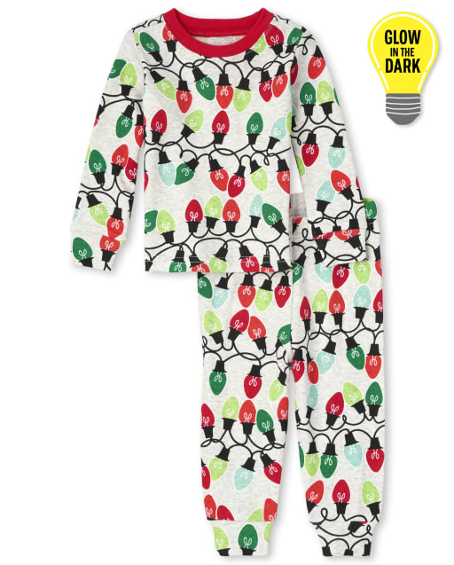 Unisex Baby And Toddler Long Sleeve Glow In The Dark Christmas Lights Snug Fit Cotton Pajamas
