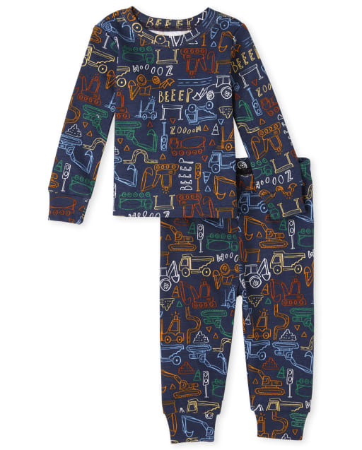 Baby And Toddler Boys Long Sleeve Construction Print Snug Fit Cotton Pajamas