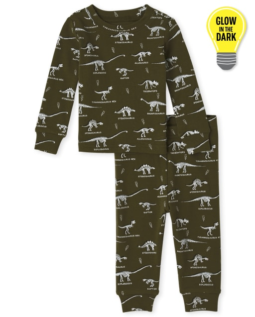 Baby And Toddler Boys Long Sleeve Glow In The Dark Dino Snug Fit Cotton Pajamas