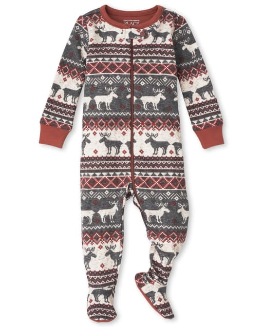 Unisex Baby And Toddler Matching Family Christmas Long Sleeve Thermal Reindeer Fairisle Snug Fit Cotton One Piece Pajamas