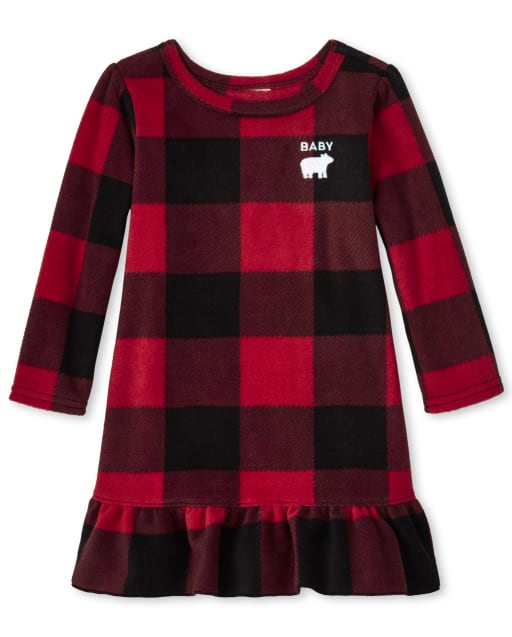 Baby And Toddler Girls Matching Family Christmas Long Sleeve Bear Buffalo Plaid Fleece Nightgown