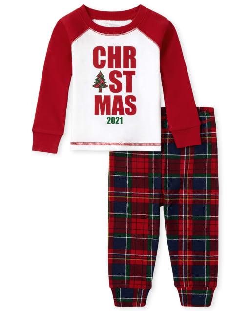 Unisex Baby And Toddler Matching Family Christmas Long Sleeve 'Christmas 2021' Snug Fit Cotton Pajamas