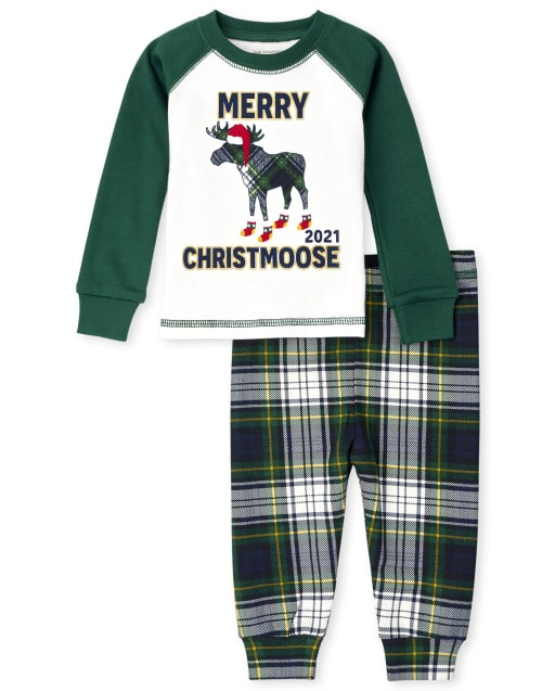 Unisex Baby And Toddler Matching Family Long Sleeve 'Merry Christmoose 2021' Snug Fit Cotton Pajamas